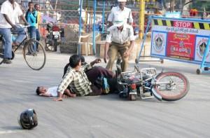 Motorbike Safety: family crashed on a bike
