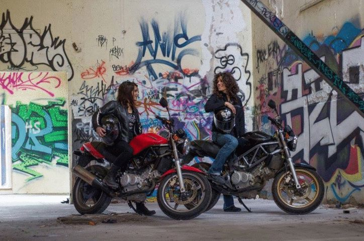 Audrey and Laura on their Hondas VTR250