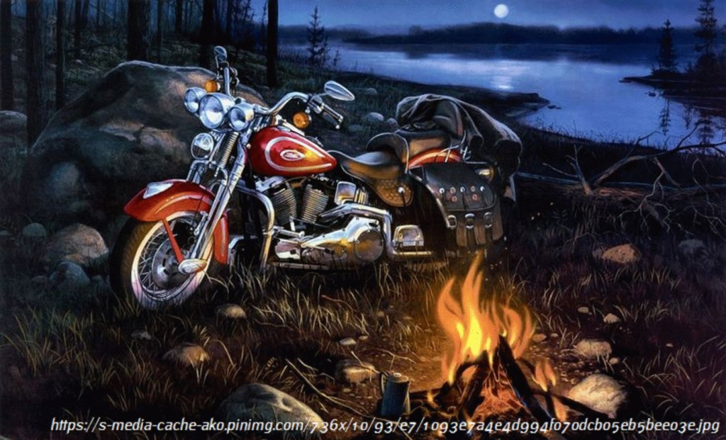 motorcycle new fireplace during the night