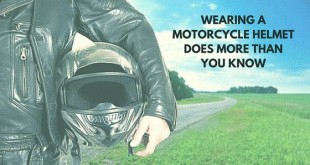 Wearing a motorcycle helmet