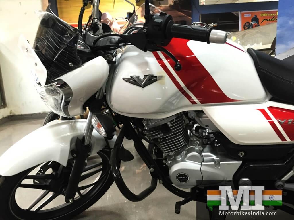 Vajaj V15 image shows white colour V15 with red stripes