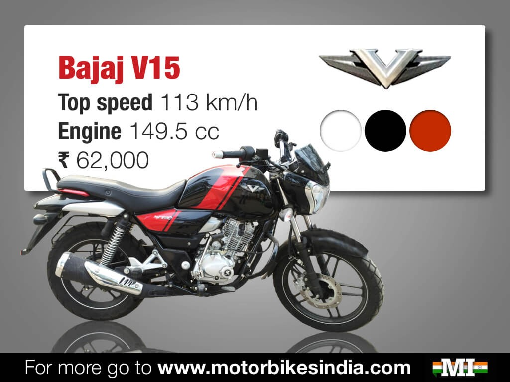 Bajaj V15 Quick Facts specification shows price Rs. 62000, 150cc engine, top speed 113 km/h, colours and image