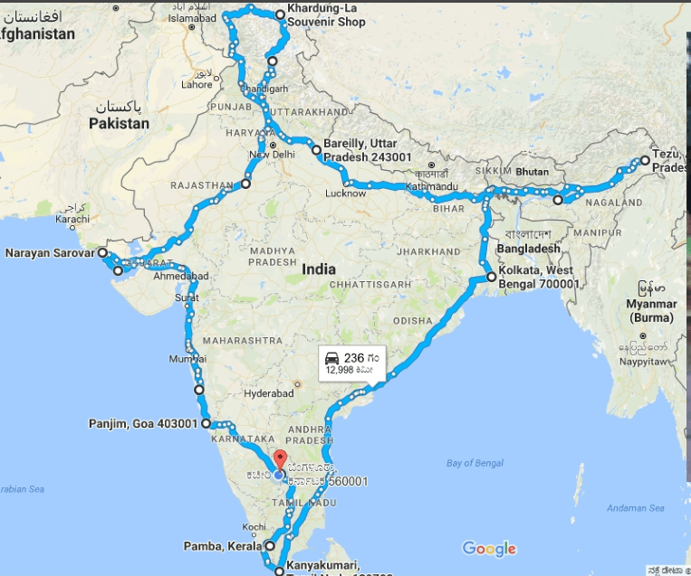 Four Corners of India (India 4 Corners) solo ride map