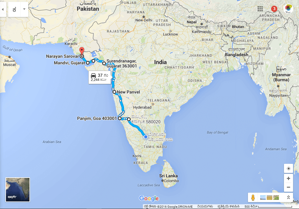 First part of the Four Corners of India Ride. June 18th to 21st.