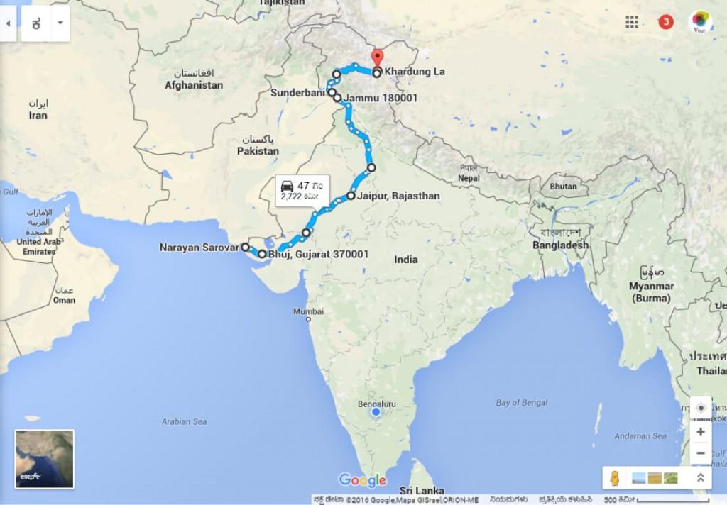 Narayan Sarovar to Leh Four Corners of India Bike Ride Map