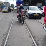 The Tram Track on the Road in Kolkata