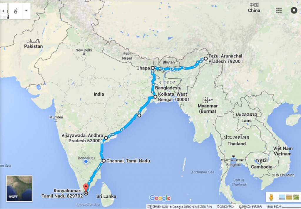 Four Corners of India - South - map - July 8 - July 17