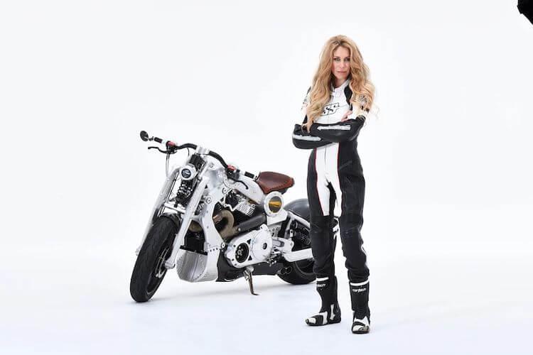 Leslie Porterfield with a bike