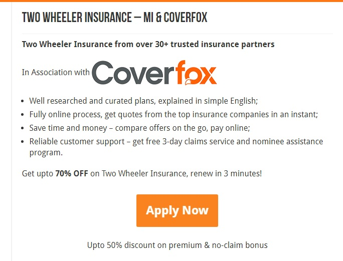 Get your Two-wheeler Insurance with Coverfox